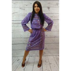 80s polka dot dress with tie belt